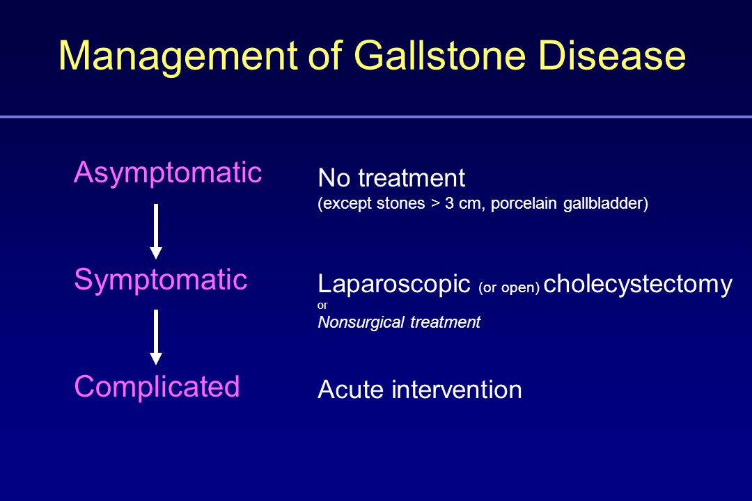 Management of Gallstone Disease Asymptomatic Symptomatic Complicated Laparoscopic (or open) cholecystectomy or Nonsurgical treatment Acute intervention No treatment (except stones > 3 cm, porcelain gallbladder)