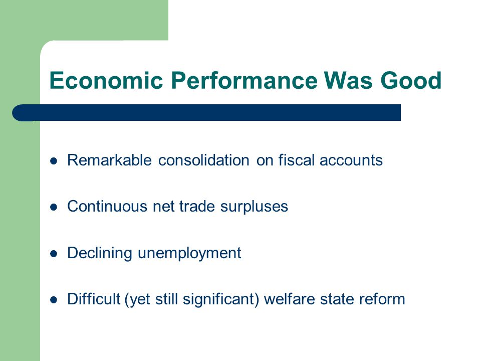 Economic Performance Was Good Remarkable consolidation on fiscal accounts Continuous net trade surpluses Declining unemployment Difficult (yet still significant) welfare state reform