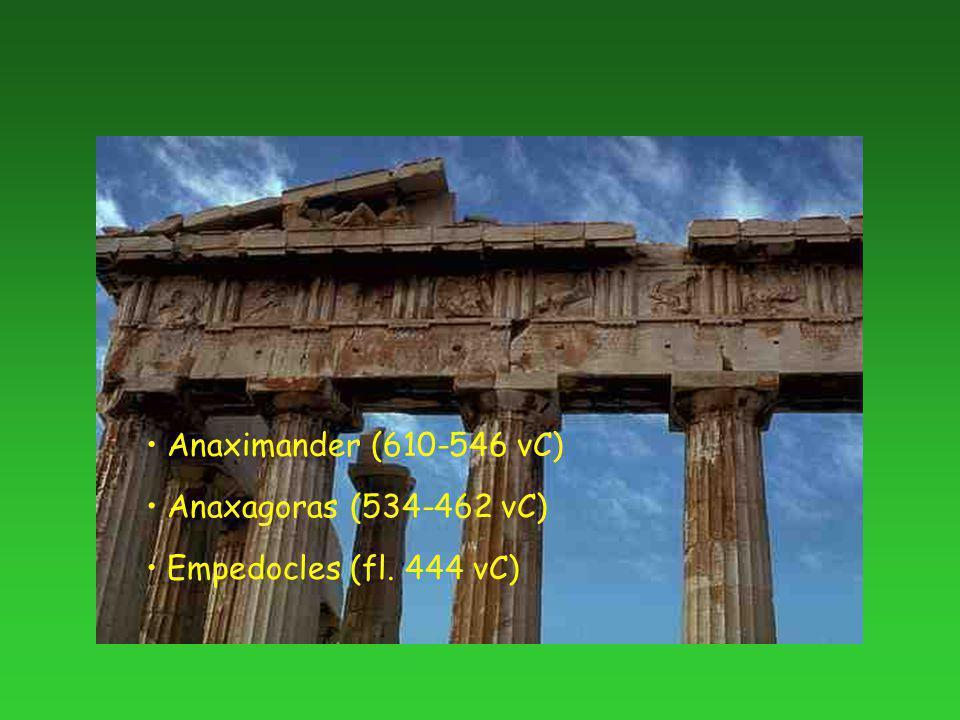 Anaximander (610-546 vC) Anaxagoras (534-462 vC) Empedocles (fl. 444 vC)