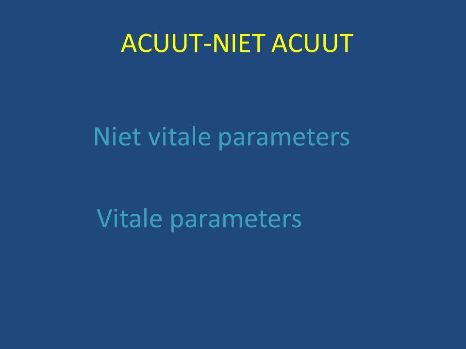 ACUUT-NIET ACUUT Niet vitale parameters Vitale parameters