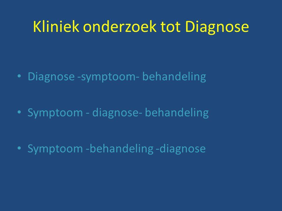 Kliniek onderzoek tot Diagnose Diagnose -symptoom- behandeling Symptoom - diagnose- behandeling Symptoom -behandeling -diagnose