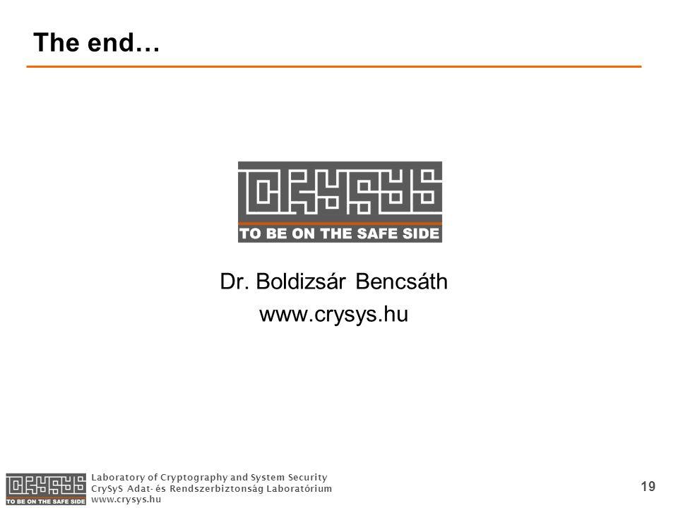 Laboratory of Cryptography and System Security CrySyS Adat- és Rendszerbiztonság Laboratórium www.crysys.hu 19 The end… Dr.