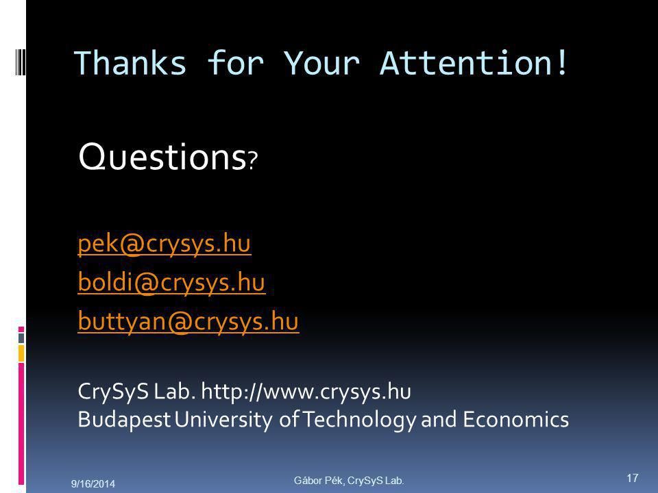 Gábor Pék, CrySyS Lab. Thanks for Your Attention.