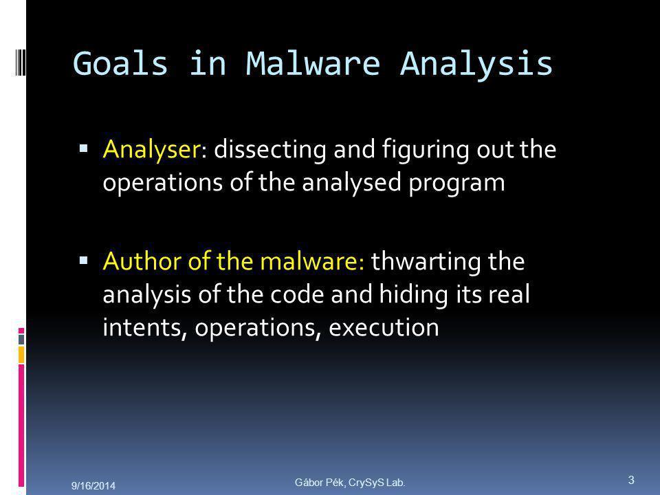 Gábor Pék, CrySyS Lab.What is Malware Analysis.