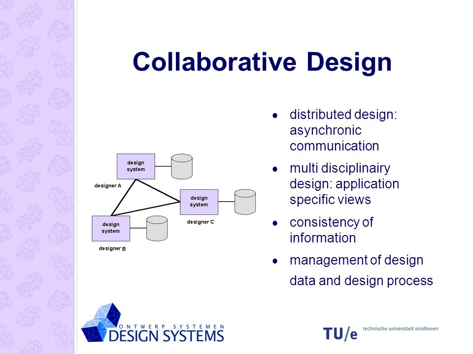 Collaborative Design  distributed design: asynchronic communication  multi disciplinairy design: application specific views  consistency of informa
