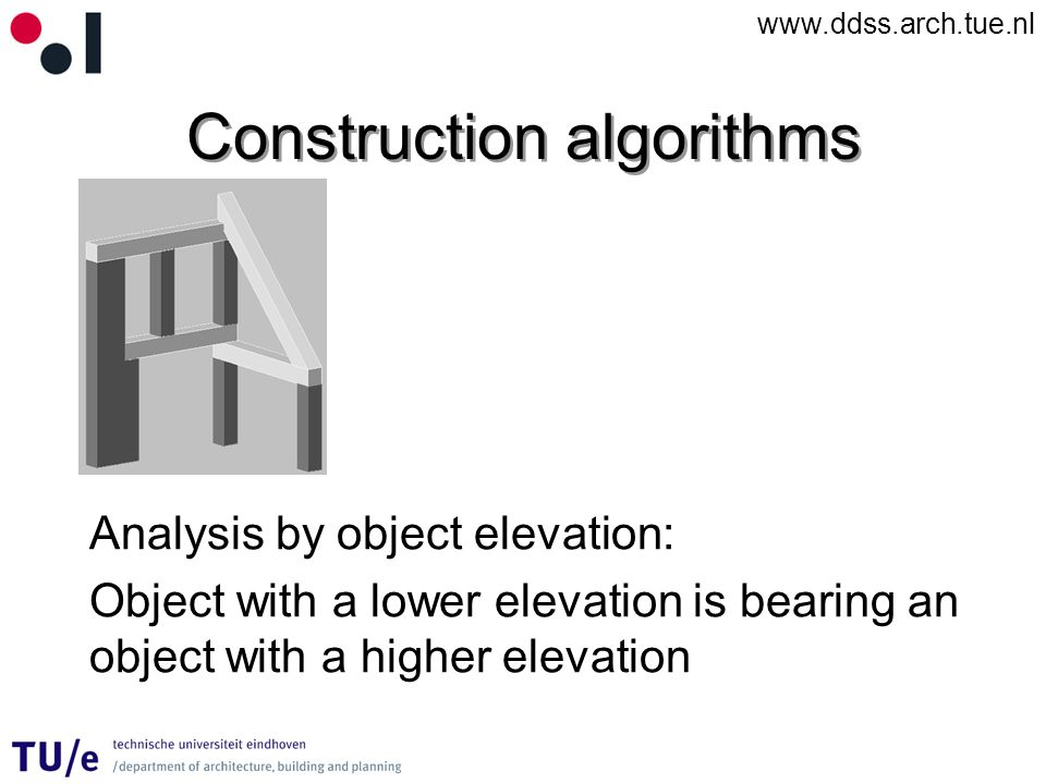 www.ddss.arch.tue.nl Construction algorithms Analysis by object elevation: Object with a lower elevation is bearing an object with a higher elevation