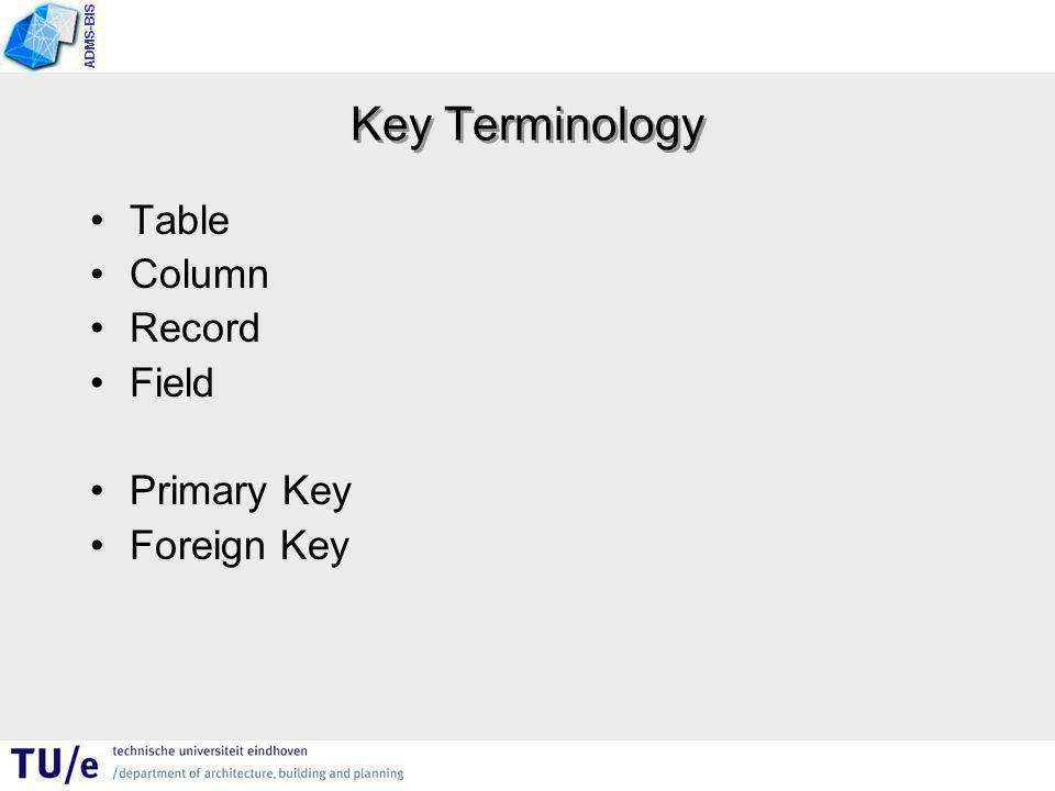 ADMS-BIS Key Terminology Table Column Record Field Primary Key Foreign Key