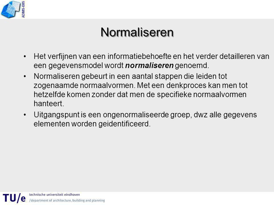 ADMS-BIS Normaliseren Het verfijnen van een informatiebehoefte en het verder detailleren van een gegevensmodel wordt normaliseren genoemd.