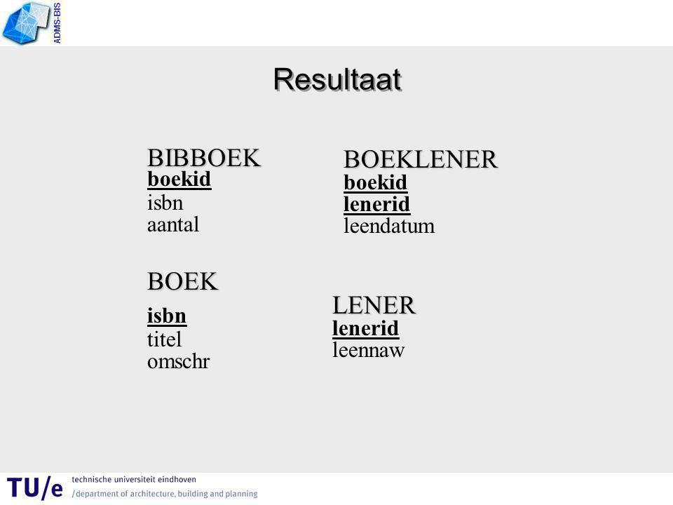 ADMS-BIS Resultaat BIBBOEK BIBBOEK boekid isbn aantal BOEK isbn titel omschr BOEKLENER boekid lenerid leendatum LENER lenerid leennaw