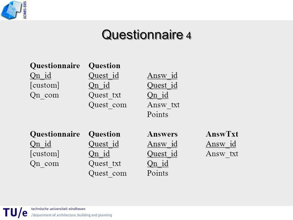 ADMS-BIS Questionnaire 4 QuestionnaireQuestion Qn_idQuest_idAnsw_id Qn_idQuest_id [custom]Qn_idQuest_id Qn_id Qn_comQuest_txtQn_id Quest_comAnsw_txt Points QuestionnaireQuestionAnswersAnswTxt Qn_idQuest_idAnsw_idAnsw_id Qn_idQuest_id [custom]Qn_idQuest_idAnsw_txt Qn_id Qn_comQuest_txtQn_id Quest_comPoints