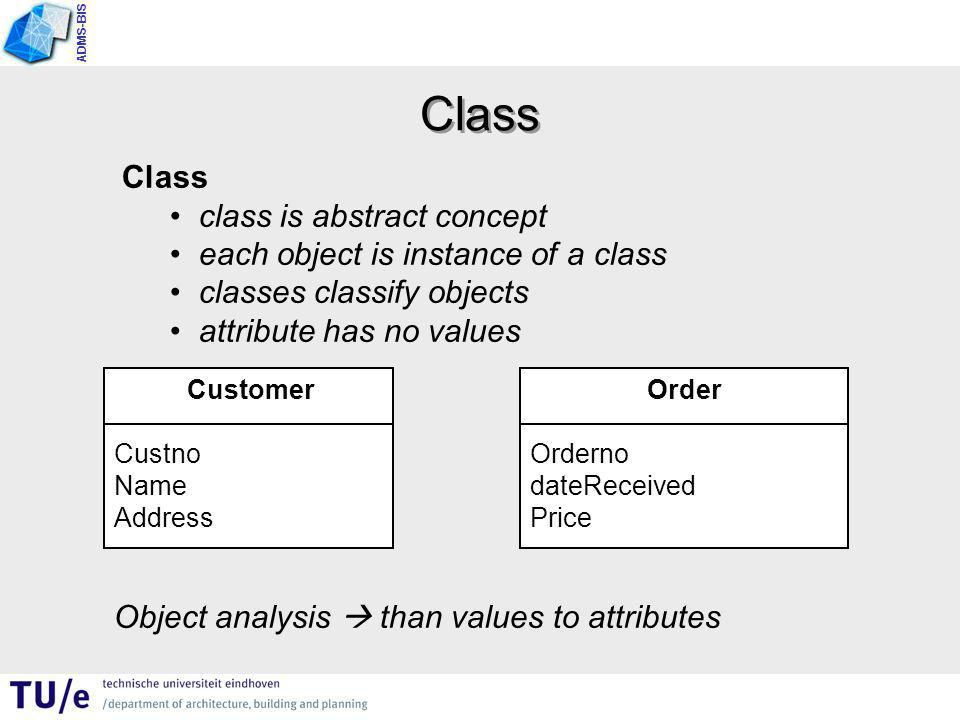 ADMS-BIS Class class is abstract concept each object is instance of a class classes classify objects attribute has no values Class Customer Custno Name Address Order Orderno dateReceived Price Object analysis  than values to attributes