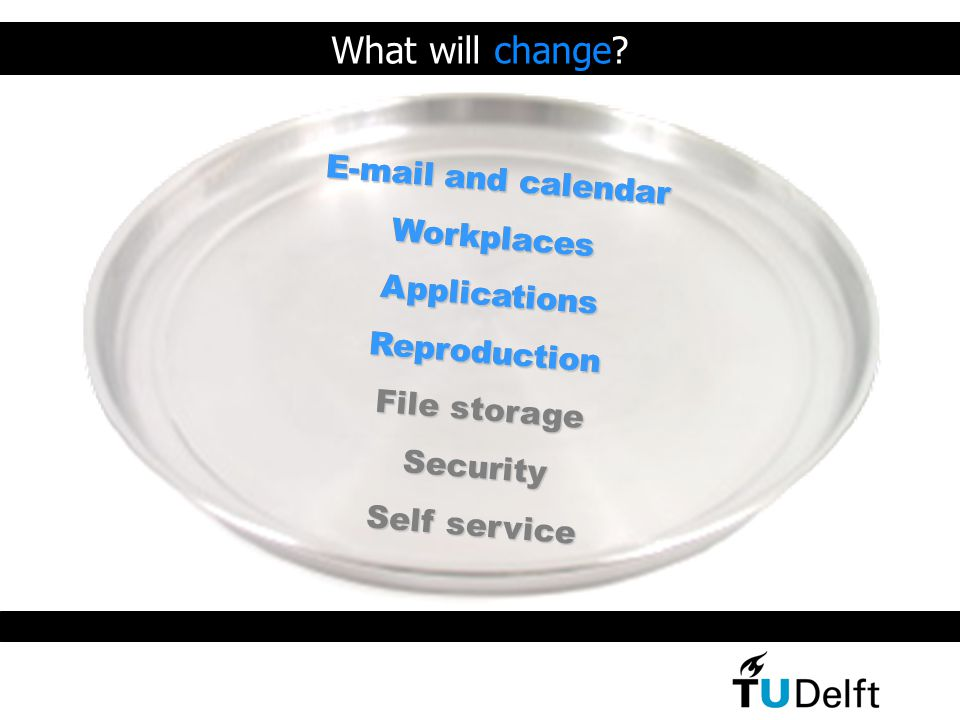 E-mail and calendar WorkplacesApplicationsReproduction File storage Security Self service E-mail and calendar WorkplacesApplicationsReproduction What will change