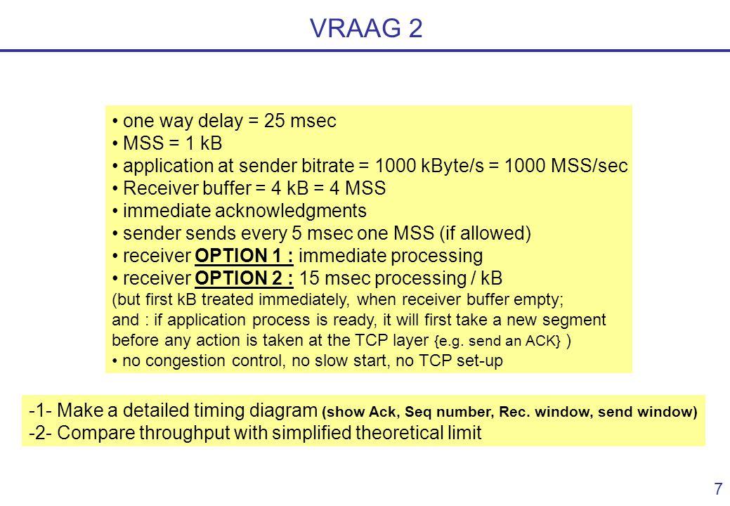 6 VRAAG 1 : uitkomst andere stukken Link AXLink XYBuffer BBitrate (Mbit/s) 100 kbit/sSatelliet10 x MSS 83 kbit/s 10 Mbit/sSatelliet10 x MSS 0.48 Mbit/