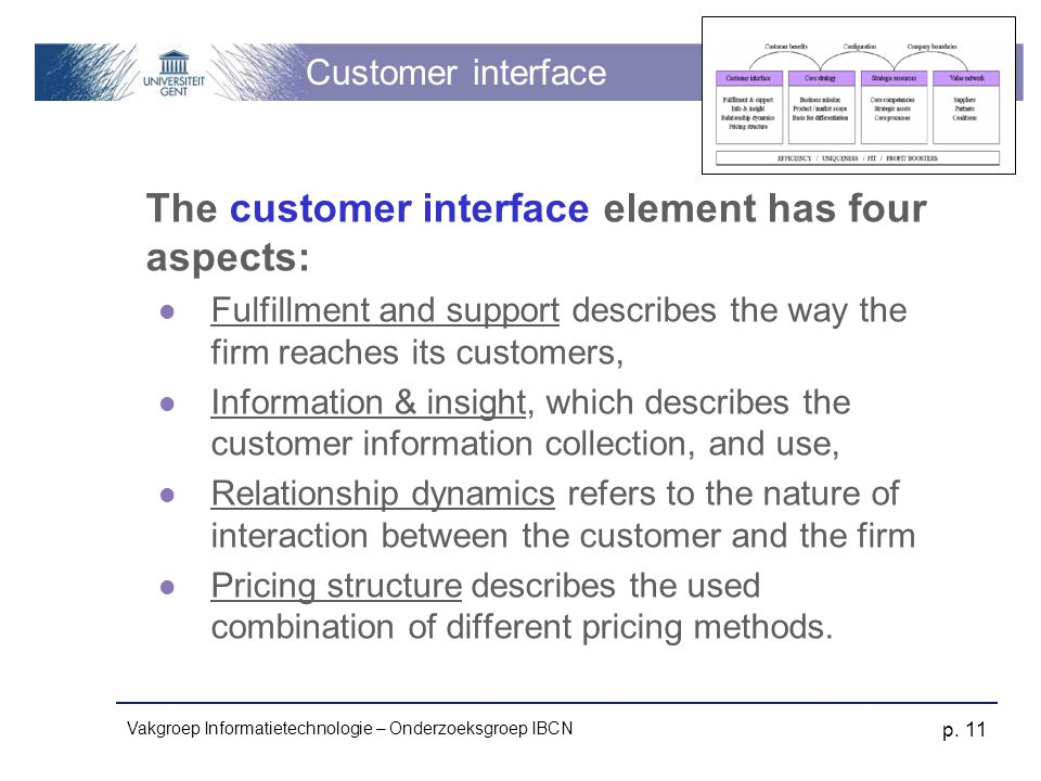 Vakgroep Informatietechnologie – Onderzoeksgroep IBCN p. 11 Customer interface The customer interface element has four aspects: Fulfillment and suppor