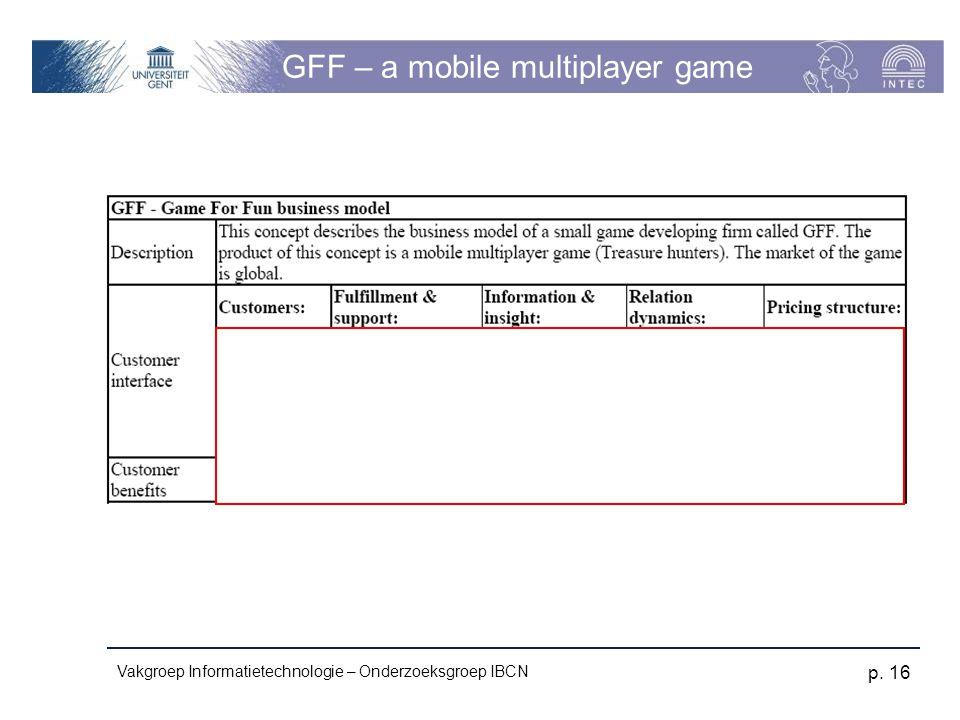 Vakgroep Informatietechnologie – Onderzoeksgroep IBCN p. 16 GFF – a mobile multiplayer game
