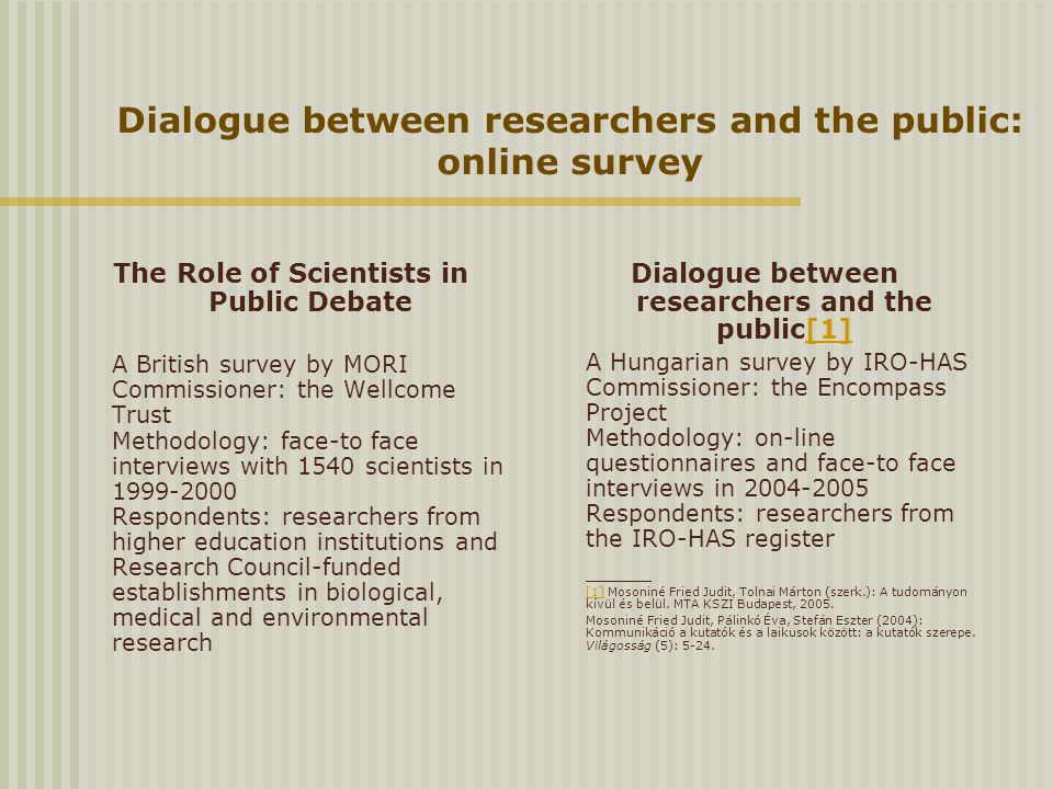 Dialogue between researchers and the public: online survey The Role of Scientists in Public Debate A British survey by MORI Commissioner: the Wellcome Trust Methodology: face-to face interviews with 1540 scientists in 1999-2000 Respondents: researchers from higher education institutions and Research Council-funded establishments in biological, medical and environmental research Dialogue between researchers and the public[1][1] A Hungarian survey by IRO-HAS Commissioner: the Encompass Project Methodology: on-line questionnaires and face-to face interviews in 2004-2005 Respondents: researchers from the IRO-HAS register [1][1] Mosoniné Fried Judit, Tolnai Márton (szerk.): A tudományon kívül és belül.