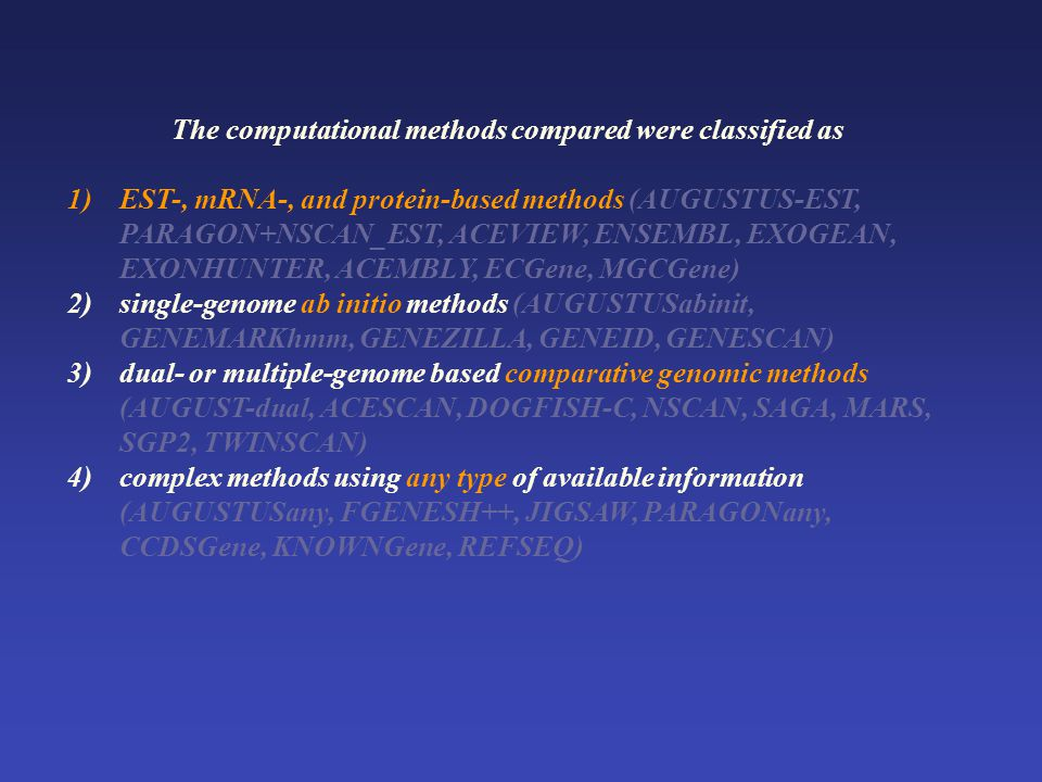 The computational methods compared were classified as 1)EST-, mRNA-, and protein-based methods (AUGUSTUS-EST, PARAGON+NSCAN_EST, ACEVIEW, ENSEMBL, EXOGEAN, EXONHUNTER, ACEMBLY, ECGene, MGCGene) 2)single-genome ab initio methods (AUGUSTUSabinit, GENEMARKhmm, GENEZILLA, GENEID, GENESCAN) 3)dual- or multiple-genome based comparative genomic methods (AUGUST-dual, ACESCAN, DOGFISH-C, NSCAN, SAGA, MARS, SGP2, TWINSCAN) 4)complex methods using any type of available information (AUGUSTUSany, FGENESH++, JIGSAW, PARAGONany, CCDSGene, KNOWNGene, REFSEQ)