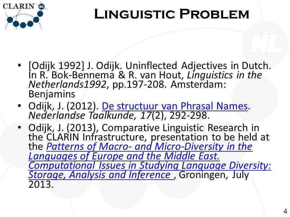 [Odijk 1992] J. Odijk. Uninflected Adjectives in Dutch.