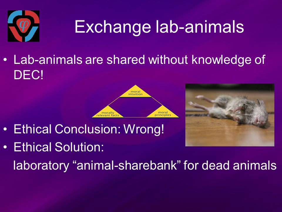 """Exchange lab-animals Lab-animals are shared without knowledge of DEC! Ethical Conclusion: Wrong! Ethical Solution: laboratory """"animal-sharebank"""" for d"""