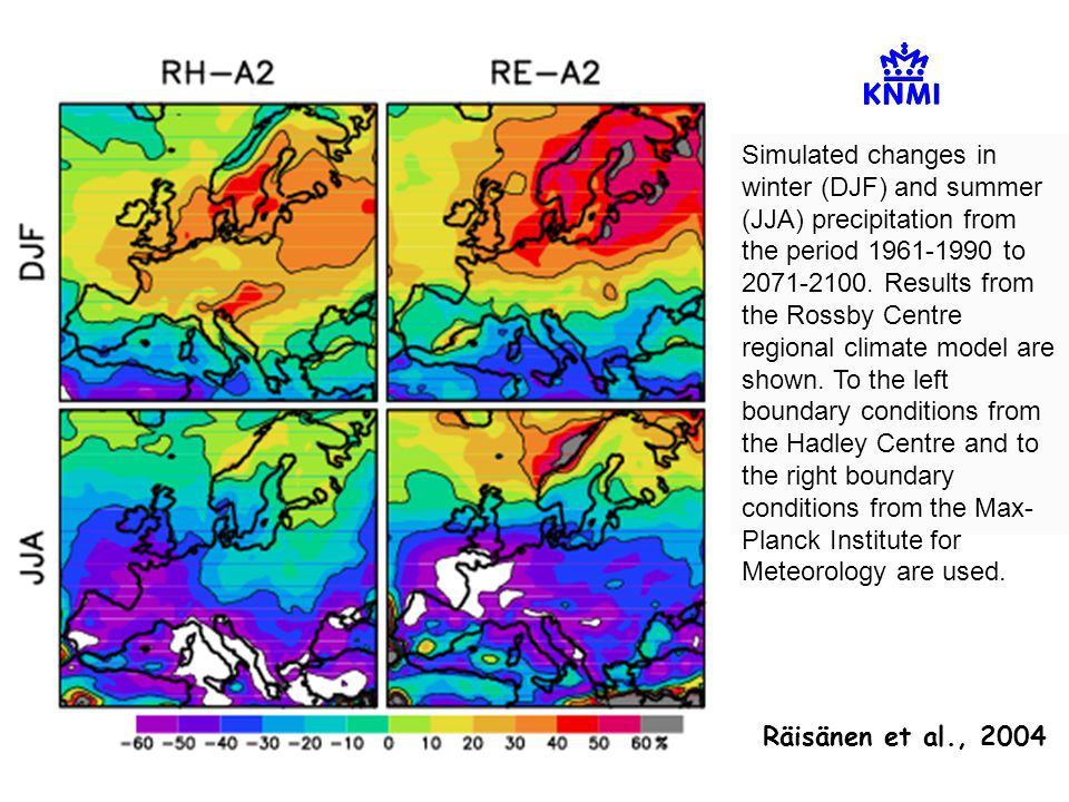 Simulated changes in winter (DJF) and summer (JJA) precipitation from the period 1961-1990 to 2071-2100.