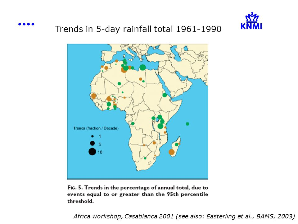 Trends in 5-day rainfall total 1961-1990 Africa workshop, Casablanca 2001 (see also: Easterling et al., BAMS, 2003)