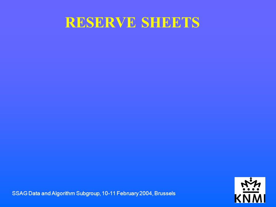 SSAG Data and Algorithm Subgroup, 10-11 February 2004, Brussels RESERVE SHEETS