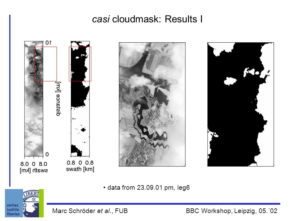 Marc Schröder et al., FUB BBC Workshop, Leipzig, 05.´02 casi cloudmask: Results I data from 23.09.01 pm, leg6