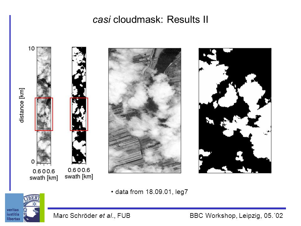 Marc Schröder et al., FUB BBC Workshop, Leipzig, 05.´02 casi cloudmask: Results II data from 18.09.01, leg7