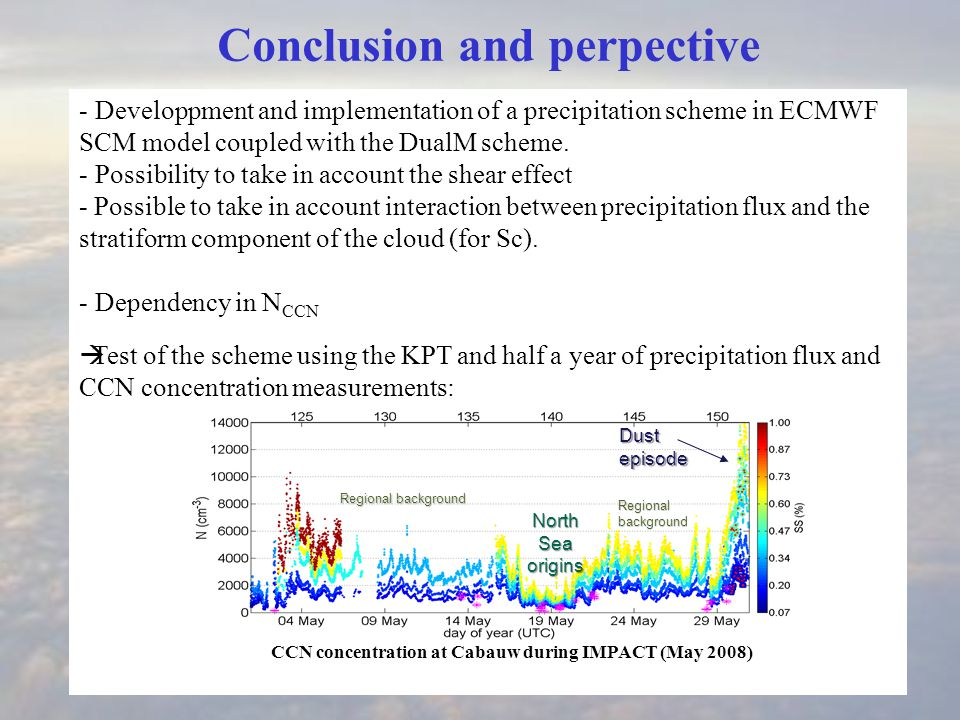 - Developpment and implementation of a precipitation scheme in ECMWF SCM model coupled with the DualM scheme.