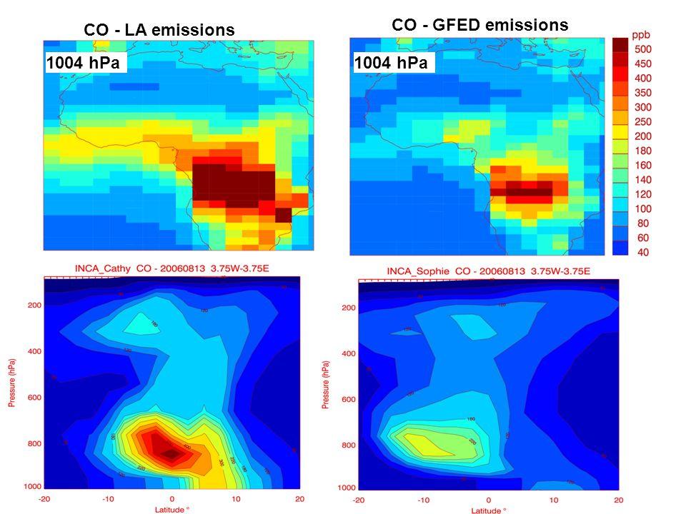 1004 hPa CO - LA emissions CO - GFED emissions