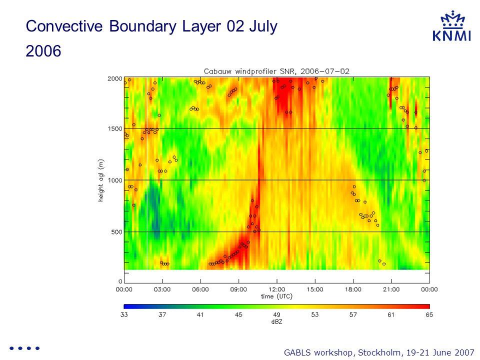 GABLS workshop, Stockholm, 19-21 June 2007 Convective Boundary Layer 02 July 2006
