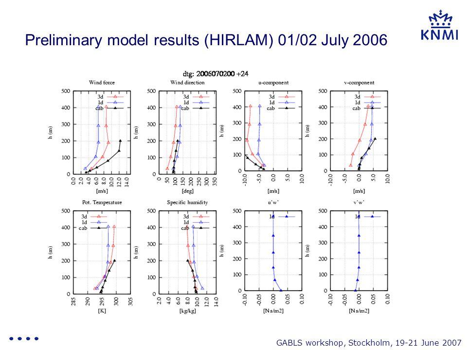 GABLS workshop, Stockholm, 19-21 June 2007 Preliminary model results (HIRLAM) 01/02 July 2006