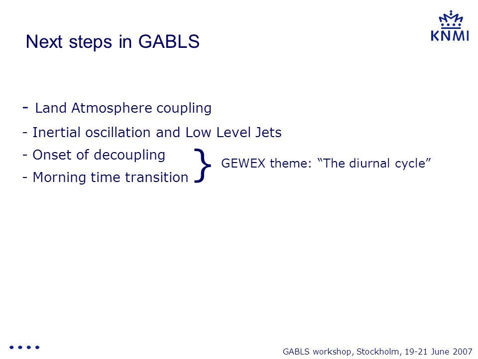 GABLS workshop, Stockholm, 19-21 June 2007 Next steps in GABLS - Land Atmosphere coupling - Inertial oscillation and Low Level Jets - Onset of decoupl