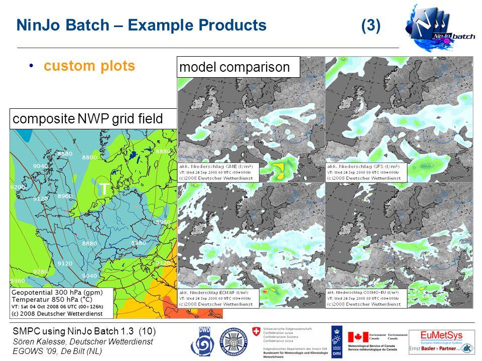 SMPC using NinJo Batch 1.3 (10) Sören Kalesse, Deutscher Wetterdienst EGOWS '09, De Bilt (NL) custom plots composite NWP grid fieldmodel comparison Ni