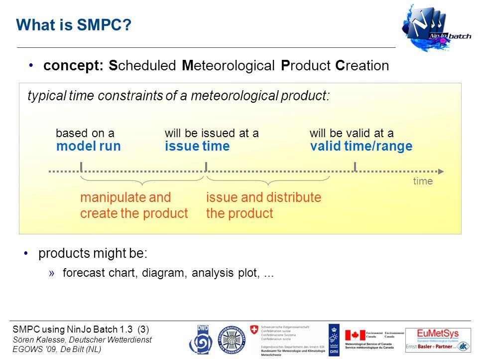 SMPC using NinJo Batch 1.3 (3) Sören Kalesse, Deutscher Wetterdienst EGOWS '09, De Bilt (NL) What is SMPC? concept: Scheduled Meteorological Product C