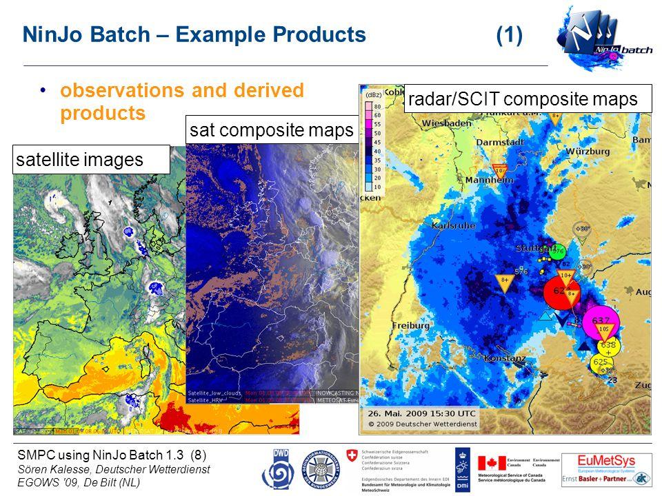 SMPC using NinJo Batch 1.3 (8) Sören Kalesse, Deutscher Wetterdienst EGOWS '09, De Bilt (NL) NinJo Batch – Example Products (1) observations and deriv