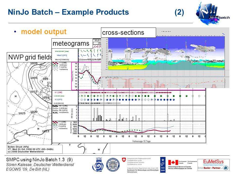 SMPC using NinJo Batch 1.3 (9) Sören Kalesse, Deutscher Wetterdienst EGOWS '09, De Bilt (NL) NinJo Batch – Example Products (2) model output NWP grid