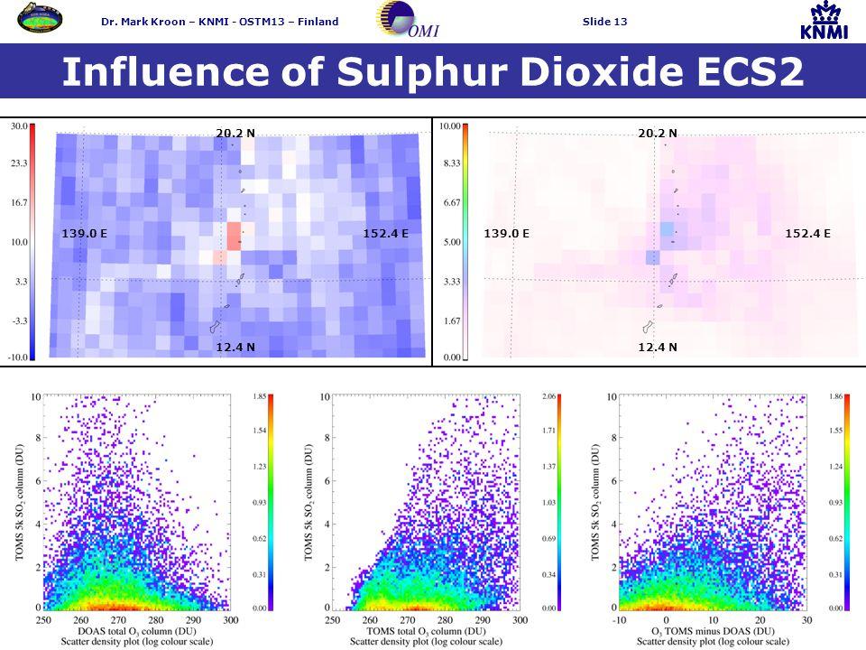 Dr. Mark Kroon – KNMI - OSTM13 – FinlandSlide 13 Influence of Sulphur Dioxide ECS2 20.2 N 139.0 E 152.4 E 12.4 N 20.2 N 139.0 E 152.4 E 12.4 N