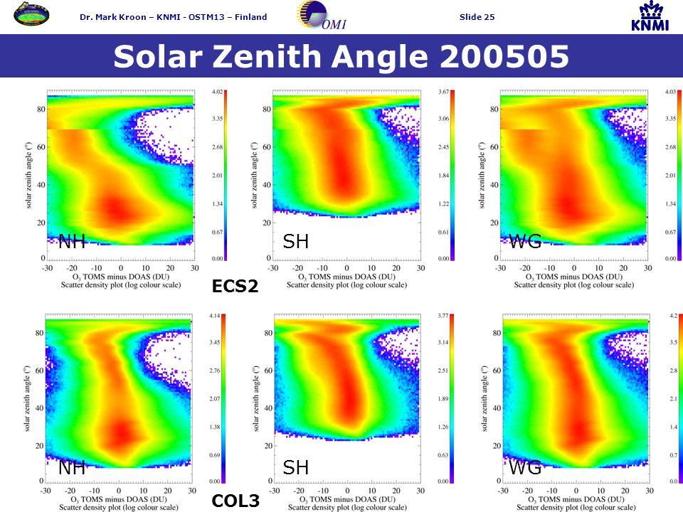 Dr. Mark Kroon – KNMI - OSTM13 – FinlandSlide 25 Solar Zenith Angle 200505 NH SH WG COL3 ECS2
