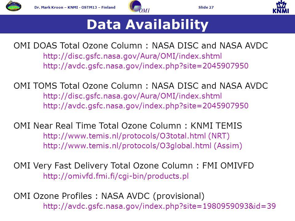 Dr. Mark Kroon – KNMI - OSTM13 – FinlandSlide 27 Data Availability OMI DOAS Total Ozone Column : NASA DISC and NASA AVDC http://disc.gsfc.nasa.gov/Aur