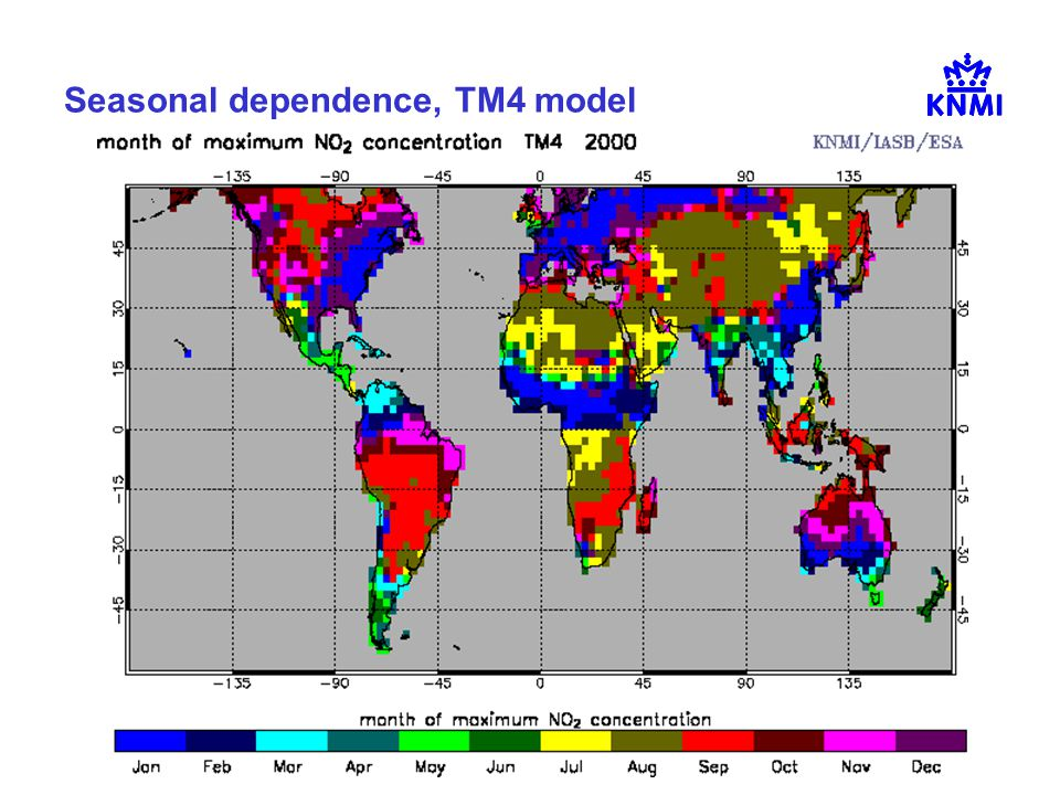 Henk Eskes, NO2 workshop KNMI, 10 Sep 2007 Seasonal dependence, TM4 model
