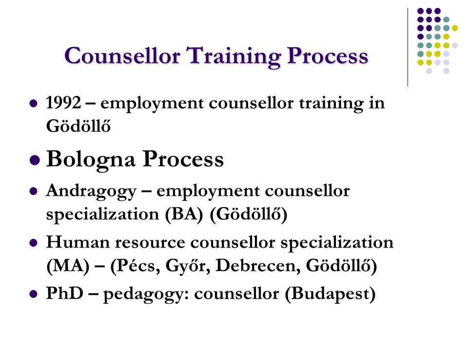 Counsellor Training Process 1992 – employment counsellor training in Gödöllő Bologna Process Andragogy – employment counsellor specialization (BA) (Gödöllő) Human resource counsellor specialization (MA) – (Pécs, Győr, Debrecen, Gödöllő) PhD – pedagogy: counsellor (Budapest)
