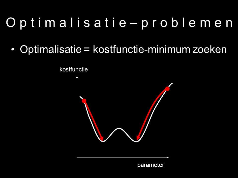22 O p t i m a l i s a t i e – p r o b l e m e n Optimalisatie = kostfunctie-minimum zoeken parameter kostfunctie