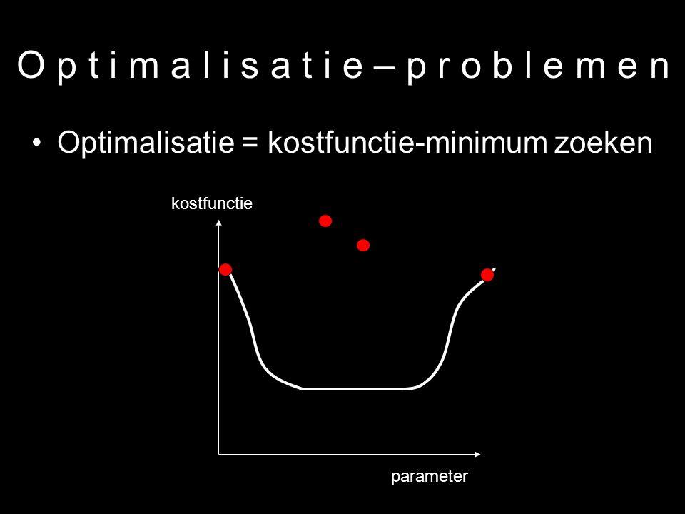 23 O p t i m a l i s a t i e – p r o b l e m e n Optimalisatie = kostfunctie-minimum zoeken parameter kostfunctie