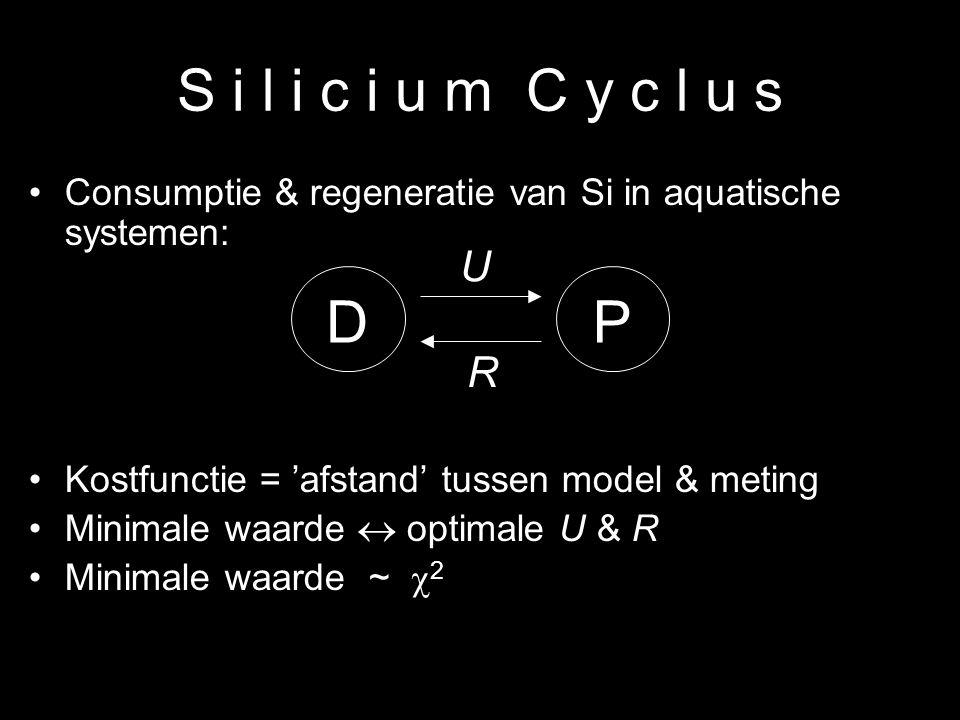 4 S i l i c i u m C y c l u s Consumptie & regeneratie van Si in aquatische systemen: Kostfunctie = 'afstand' tussen model & meting Minimale waarde 