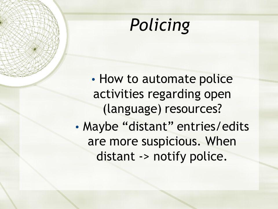 Policing How to automate police activities regarding open (language) resources.