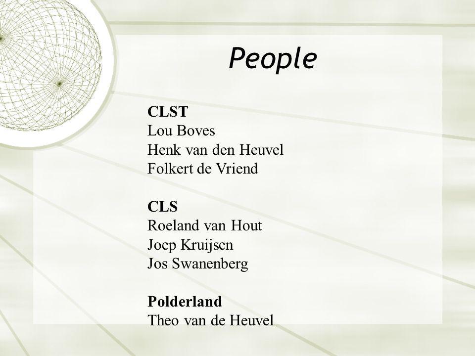 People CLST Lou Boves Henk van den Heuvel Folkert de Vriend CLS Roeland van Hout Joep Kruijsen Jos Swanenberg Polderland Theo van de Heuvel