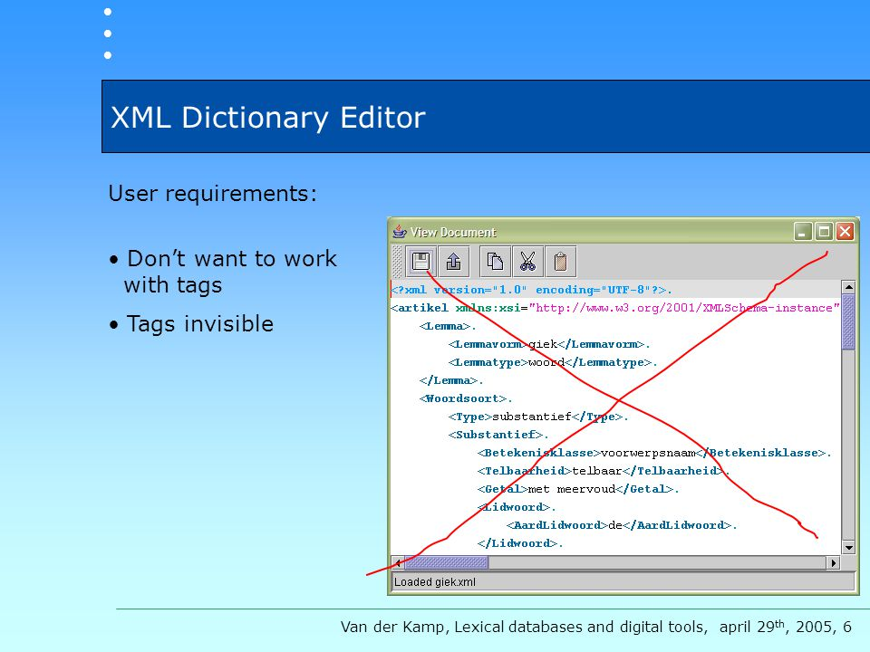 XML Dictionary Editor User requirements: Don't want to work with tags Tags invisible Van der Kamp, Lexical databases and digital tools, april 29 th, 2