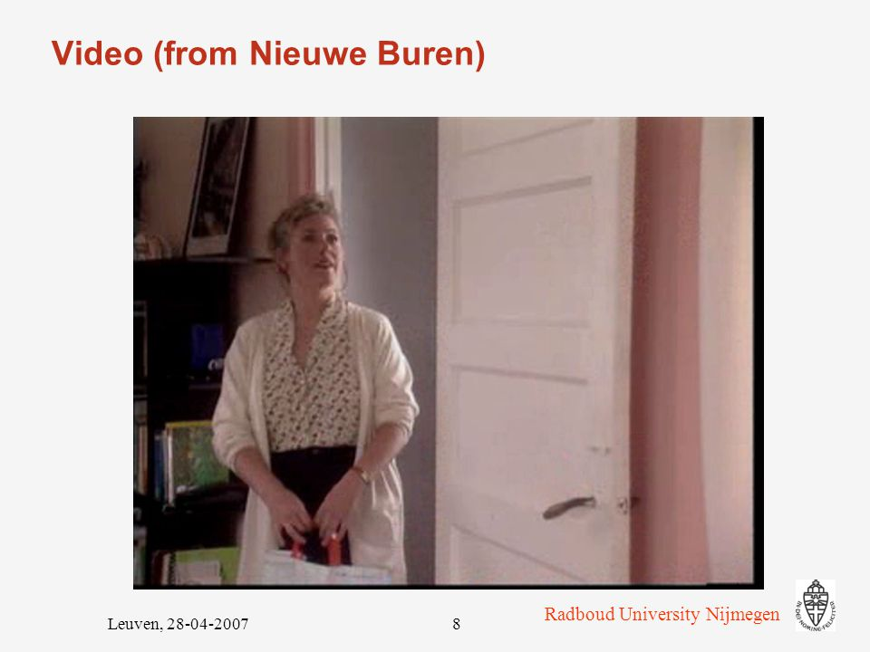 Radboud University Nijmegen Leuven, 28-04-20077 11 'targeted phonemes' IPA symbolexample ////////toch, Scheveningen ////////hand, Helmer ////////pat /  :/ naam ////////pit ////////put ////////vuur ////////voer /  :/ deur /  / fijn /  / huis