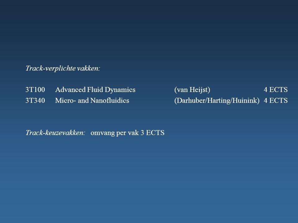 Track-verplichte vakken: 3T100Advanced Fluid Dynamics (van Heijst)4 ECTS 3T340Micro- and Nanofluidics(Darhuber/Harting/Huinink)4 ECTS Track-keuzevakken: omvang per vak 3 ECTS